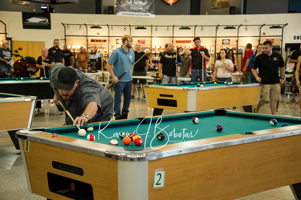 Tavern Players pool tournament at Laconia Harley Davidson in Meredith.  ©Karen Bobotas Photographer