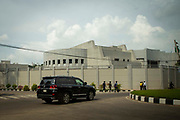 A large SUV vehicle drives past the newly constructed Royal Embassy of Saudi Arabia on the 23rd of September 2018 in Dhaka, Bangladesh.
