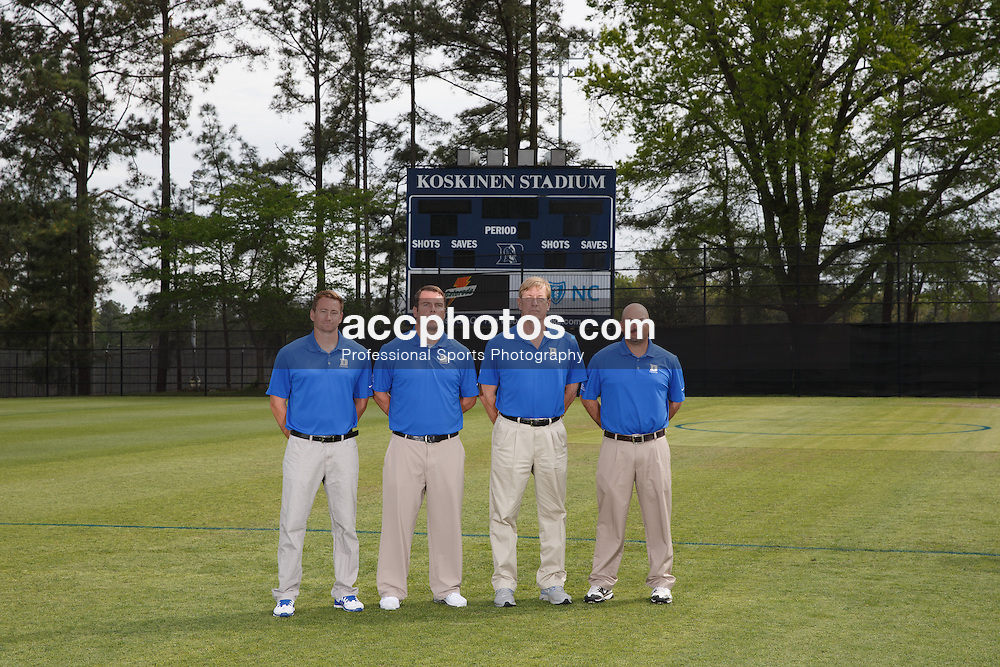 2014 April 18: Duke lacrosse 2014 coaches photo. (Photo by Peyton Williams for Duke Athletics)<br /> <br /> (L-R) Matt Danowski, Ben DeLuca, John Danowski and Ron Caputo