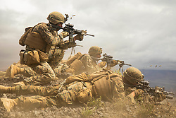 May 17, 2019 - Marine Corps Base Hawaii, Hawaii, U.S. - U.S. Marines with Golf Company, 2nd Battalion, 3d Marine Regiment, fire at targets during a platoon supported attack at Pachakuloa Training Area, May 9, 2019. Exercise Bougainville II is the second phase of predeployment training conducted by the battalion in order to enhance unit cohesion and combat readiness. (Credit Image: ? U.S. Marines/ZUMA Wire/ZUMAPRESS.com)