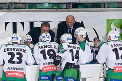 Bench of HDD Tilia Olimpija during ice-hockey match between HDD Tilia Olimpija and EHC Liwest Black Wings Linz in 19th Round of EBEL league, on November 7, 2010 at Hala Tivoli, Ljubljana, Slovenia. (Photo By Matic Klansek Velej / Sportida.com)