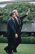 US President Bill Clinton walks with Egyptian President Hosni Mubarak July 31, 1996 in the White House Rose Garden.