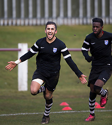 Ibrahim Diallo cele scoring for Edusport Academy past keeper Young.<br /> half time : Whitehill Welfare 1 v 1 Edusport Academy, South Challenge Cup Quarter Final played 7/3/2015 at Ferguson Park, Carnethie Street, Rosewell.