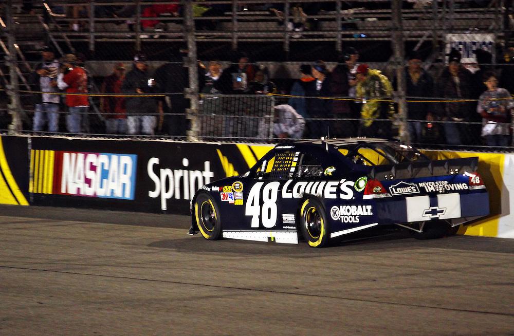 Apr 28, 2012; Richmond, VA, USA; NASCAR Sprint Cup driver Jimmie Johnson (48) during the Capital City 400 at Richmond International Raceway. Mandatory Credit: Peter Casey-US PRESSWIRE.
