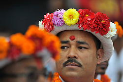 September 15, 2016 - Kathmandu, Nepal - Priest on a traditional attire attending on the third day of Indra Jatra Festival celebrated at Basantapur Durbar Square, Kathmandu. Devotees celebrated the god of rain 'Indra' for 8 days in Kathmandu. (Credit Image: © Narayan Maharjan/Pacific Press via ZUMA Wire)