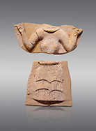 Minoan Postpalatial terracotta  goddess tablet with raised arms, Kannia Sanctuary,  Gortys, 1350-1250 BC, Heraklion Archaeological Museum, grey background. <br /> <br /> The Goddesses are crowned with symbols of earth and sky in the shapes of snakes and birds, describing attributes of the goddess as protector of nature. .<br /> <br /> If you prefer to buy from our ALAMY PHOTO LIBRARY  Collection visit : https://www.alamy.com/portfolio/paul-williams-funkystock/minoan-art-artefacts.html . Type -   Heraklion   - into the LOWER SEARCH WITHIN GALLERY box. Refine search by adding background colour, place, museum etc<br /> <br /> Visit our MINOAN ART PHOTO COLLECTIONS for more photos to download  as wall art prints https://funkystock.photoshelter.com/gallery-collection/Ancient-Minoans-Art-Artefacts-Antiquities-Historic-Places-Pictures-Images-of/C0000ricT2SU_M9w