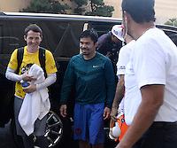 April 28.2015. Las Vegas NV. Manny  Pacquiao arrives back from a morning workout Tuesday at the Mandalay Bay. Manny  Pacquiao  will be fighting Floyd Mayweather Jr. the long awaited fight in May 2nd at the MGM grand hotel.<br /> Photo by Gene Blevins/LA DailyNews