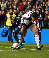 EDINBURGH, SCOTLAND - FEBRUARY 11: Scotland winger Sean Maitland opens the scoring for Scotland  during the NatWest Six Nations match between Scotland and France at Murrayfield on February 11, 2018 in Edinburgh, Scotland.  (Photo by MB Media/Getty Images)