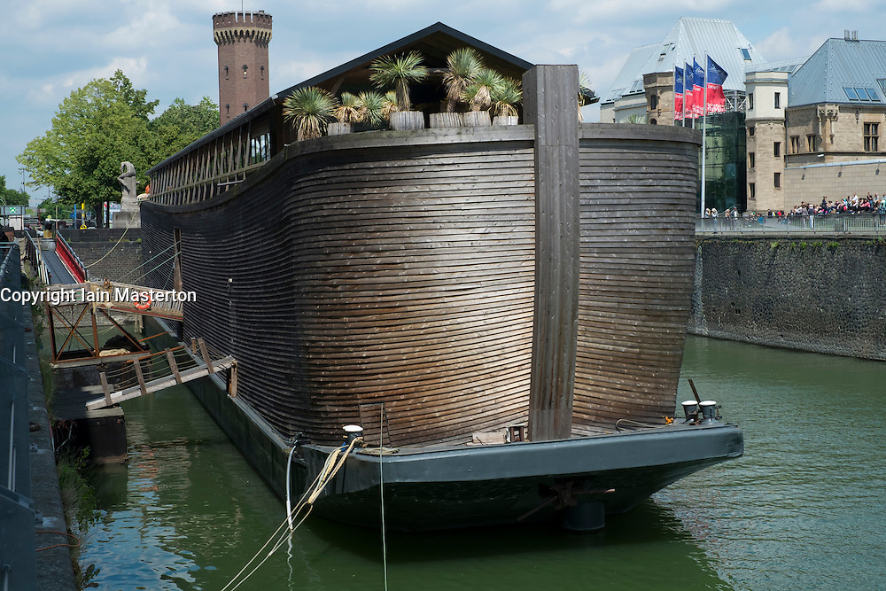 View of Noah's Ark wooden ship and religious exhibition in Cologne Germany