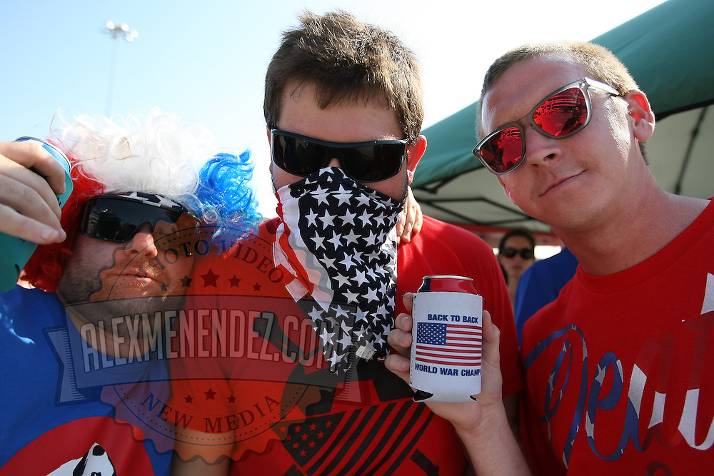 USA soccer fans poses prior to an international friendly soccer match between Scotland and the United States at EverBank Field on Saturday, May 26, 2012 in Jacksonville, Florida.  The United States won the match 5-1 in front of 44,000 fans. (AP Photo/Alex Menendez)