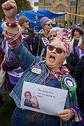 Women from the Essex branch of the WASPI Womens Action Against State Pension Injustice protest on College Greeen in Westminster, the morning after another of Prime Minister Theresa Mays Brexit deal votes failed again in Parliament, on 13th March 2019, in London, England.