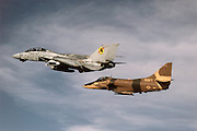 "F-14 and A-4 flown by ""Iceman"" and ""Viper"".during the filming of TOP GUN"