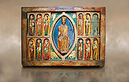 Altar of St. Maria de Taull<br /> <br /> 1200s repainted in 1579. Tempera on wood with carvings from the church of Santa Maria in Snowshoe, Vall de Boi, High Ribagorca, Spain.<br /> <br /> Acquisition of Museums Board's campaign in 1932. MNAC 3904<br /> <br /> Thirteenth century Romanesque carved and painted altar front with Christ Pantocrator in a Mandorla flanked by the 12 Apostles.  Carved altar frontals were not rare in Romanesque. Generally the characters were sculpted separately and then added to the front surface. The high quality of carving indicates the presence of a sculptures hand. The sharpness of forms to make stereotypical costumes seem versed in the work of stone sculpture. .<br /> <br /> If you prefer you can also buy from our ALAMY PHOTO LIBRARY  Collection visit : https://www.alamy.com/portfolio/paul-williams-funkystock/romanesque-art-antiquities.html<br /> Type -     MNAC     - into the LOWER SEARCH WITHIN GALLERY box. Refine search by adding background colour, place, subject etc<br /> <br /> Visit our ROMANESQUE ART PHOTO COLLECTION for more   photos  to download or buy as prints https://funkystock.photoshelter.com/gallery-collection/Medieval-Romanesque-Art-Antiquities-Historic-Sites-Pictures-Images-of/C0000uYGQT94tY_Y