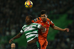 December 17, 2017 - Lisbon, Lisbon, Portugal - Sportings midfielder William Carvalho from Portugal (L) and Portimonense's defender Lucas Possignolo (R) during Premier League 2017/18 match between Sporting CP and Portimonense SC,.at Alvalade Stadium in Lisbon on December 17, 2017. (Credit Image: © Dpi/NurPhoto via ZUMA Press)