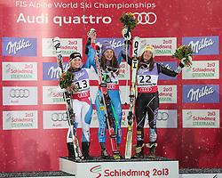 05.02.2013, Planai, Schladming, AUT, FIS Weltmeisterschaften Ski Alpin, Suber G, Damen, Siegerpraesentation, im Bild Lara Gut (SUI, 2. Platz), Tina Maze (SLO, 1. Platz), Julia Mancuso (USA, 3. Platz) // 2nd place Lara Gut of Switzerland, 1st place Tina Maze of Slovenia, 3th place Julia Mancuso of United States on Winners Presentation during ladies SuperG at the FIS Ski World Championships 2013 at the Planai Course, Schladming, Austria on 2013/02/05. EXPA Pictures © 2013, PhotoCredit: EXPA/ Sammy Minkoff