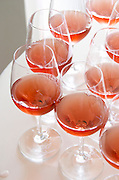 Wine tasting. Wine glasses. Rose wine. Chateau Paloumey, Haut Medoc, Bordeaux, France.