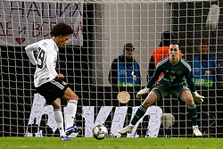 November 15, 2018 - Leipzig, Germany - Leroy Sane (L) of Germany scores a goal past Andrey Lunev of Russia during the international friendly match between Germany and Russia on November 15, 2018 at Red Bull Arena in Leipzig, Germany. (Credit Image: © Mike Kireev/NurPhoto via ZUMA Press)