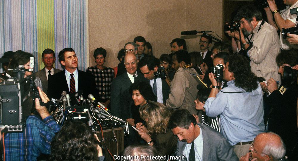 Oliver North speaks to press after his sentencing on July 6 1989<br /> <br /> by Dennis Brack