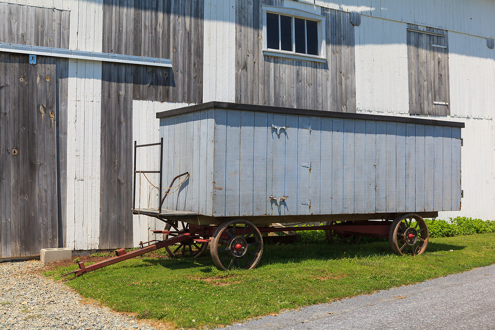 Built by Amish, these special wagons are used  to transport benches for worship services from one farm to another.