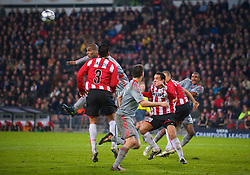 EINDHOVEN, THE NETHERLANDS - Tuesday, December 9, 2008: Liverpool's Ryan Babel scores the equalising goal against PSV Eindhoven during the final UEFA Champions League Group D match at the Philips Stadium. (Photo by David Rawcliffe/Propaganda)