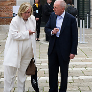 VENICE, ITALY April 8th: Francois Pinault with his wife Marie-Yvonne leave the  Exhibition In Praise of Doubt at Punta della Dogana  organised by the Francois Pinault Foundation ...HOW TO BUY THIS PICTURE: please contact us via e-mail at sales@xianpix.com or call our offices in Milan at (+39) 02 400 47313 or London   +44 (0)207 1939846 for prices and terms of copyright.