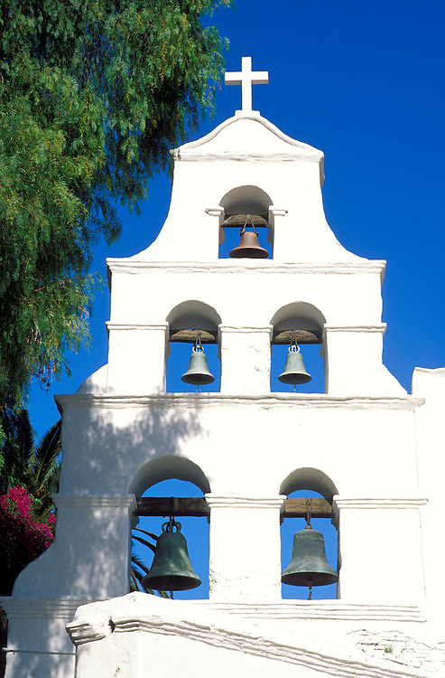 The white washed bell tower at Mission San Diego (California's first Mission), San Diego, California USA