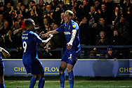 AFC Wimbledon midfielder Mitch Pinnock (11) celebrates his goal 2-1 during the EFL Sky Bet League 1 match between AFC Wimbledon and Plymouth Argyle at the Cherry Red Records Stadium, Kingston, England on 26 December 2018.