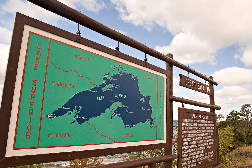 A sign with a map of Lake Superior along M-26 in Michigan's Keweenaw Peninsula.