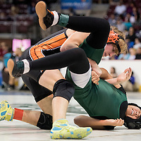 022015       Cable Hoover<br /> <br /> Wingate Bear Desree Bryant attempts to twist out from under Taos Tiger Cade Cannedy during the New Mexico State Wrestling Tournament at the Santa Ana Star Center in Albuquerque Friday.