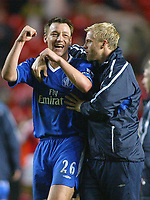 27/11/2004 - FA Barclaycard Premiership - Charlton Athletic v Chelsea - The Valley<br />Chelsea's double goalscorer John Terry celebrates with fellow scorer Eidur Gudjonsen at the end of the game after their 4-0 away win<br />Photo:Jed Leicester/Back Page Images