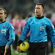 Referee's Huseyin Gocek (R) during their Turkish superleague soccer match Besiktas between IBBSpor at BJK Inonu Stadium in Istanbul Turkey on Sunday, 11 December 2011. Photo by TURKPIX