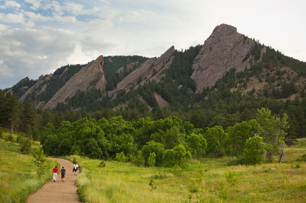 The First, Second, and Third (right to left) Flatirons on Green Mountain in Chautauqua Park, Boulder, Colorado.