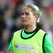 United States goalkeeper Ashlyn Harris (18) is seen during the first match of the 2020 She Believes Cup soccer tournament at Exploria Stadium on 5 March 2020 in Orlando, Florida USA.