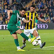 Fenerbahce's Bekir Irtegun (R) and Bursaspor's Volkan Sen (L) during their Turkish superleague soccer match Fenerbahce between Bursaspor at the Sukru Saracaoglu stadium in Istanbul Turkey on Monday 20 April 2015. Photo by Kurtulus YILMAZ/TURKPIX
