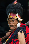 Chang Naga in festival dress<br /> Chang Naga headhunting Tribe<br /> Tuensang district<br /> Nagaland,  ne India