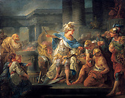 Alexander cutting the Gordian Knot' oil on canvas. Jean-Simon Berthelemy (1743-1811) French history painter. Legend is, in 333 BC at Gordium, Phrygia,  Alexander the Great, unable to untie the knot, sliced it with his sword. Alexandrian solution.