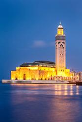 Hassan II Mosque at dusk, with Atlantic Ocean, Casablanca, Morocco