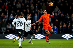 Lee Gregory of Millwall takes on Richard Keogh of Derby County - Mandatory by-line: Robbie Stephenson/JMP - 20/02/2019 - FOOTBALL - Pride Park Stadium - Derby, England - Derby County v Millwall - Sky Bet Championship