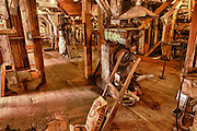 USA, Oregon, Thompson's Mills State Heritage Site, Interior Display, Grist Mill display, interior display, digital composite, HDR
