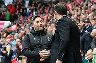 Bristol City manager Lee Johnson shakes hands with Derby County manager Frank Lampard before the EFL Sky Bet Championship match between Bristol City and Derby County at Ashton Gate, Bristol, England on 27 April 2019.