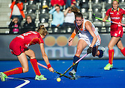 The Netherlands Lidewij Welten is tackled by Aline Fobe of Belgium. The Netherlands v Belgium - Unibet EuroHockey Championships, Lee Valley Hockey & Tennis Centre, London, UK on 26 August 2015. Photo: Simon Parker