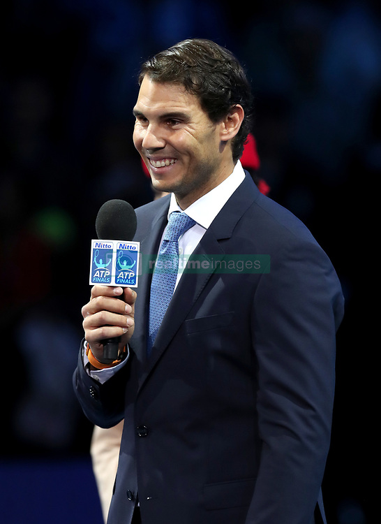 Rafael Nadal is interveiwed during day one of the NITTO ATP World Tour Finals at the O2 Arena, London.