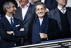 September 30, 2017 - Paris, France - Former French President Nicolas Sarkozy smiles during the French L1 football match between Paris Saint-Germain and Bordeaux at the Parc des Princes stadium in Paris on September 30, 2017. (Credit Image: © Geoffroy Van Der Hasselt/NurPhoto via ZUMA Press)