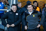 Wigan Athletic manager Warren Joyce and Burton Albion manager Nigel Clough during the EFL Sky Bet Championship match between Burton Albion and Wigan Athletic at the Pirelli Stadium, Burton upon Trent, England on 14 January 2017. Photo by Richard Holmes.