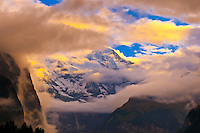 Dramatic weather in the Swiss Alps, seen from Wengen, Canton Bern, Switzerland