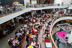 Food court inside St Enoch Centre shopping mall in Glasgow, Scotland,United Kingdom