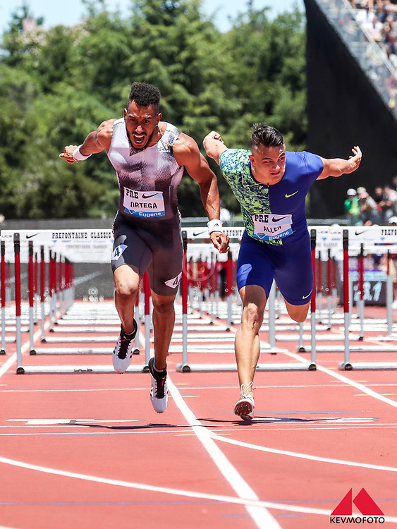 Orland Ortega, Spain, wins mens 110 meter hurdles in 13.24, beating Devon Allen, USA, at 2019 The Prefontaine Classic Track & Field<br /> IAAF Diamond League