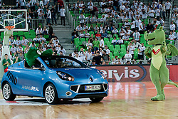 Renault Wind with official mascots of HDD Tilia Olimpija and Union Olimpija during basketball match between KK Union Olimpija (SLO) and Power E. Valencia (SPA) in Group D of Turkish Airlines Euroleague, on November 17, 2010 in Arena Stozice, Ljubljana, Slovenia. (Photo By Matic Klansek Velej / Sportida.com)