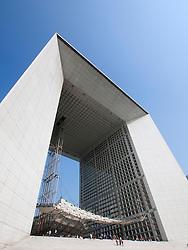 The Grande Arche building in La Defense district of Paris France