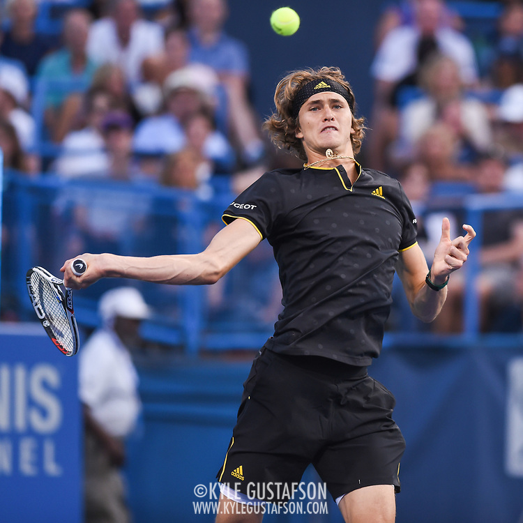 ALEXANDER ZVEREV hits a forehand during his semifinal match at the Citi Open at the Rock Creek Park Tennis Center in Washington, D.C.